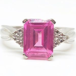 10k White Gold Pink Sapphire & Diamond Ring